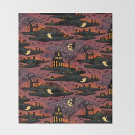 Halloween Night - Bonfire Glow Throw Blanket