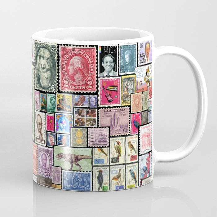 stamps collage coffee mug by silvioledbetter society6