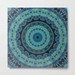 Watercolor Mandala in Dark Blue - Green Hues Metal Print