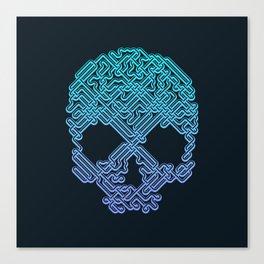 Labyrinthine Skull - Neon Canvas Print