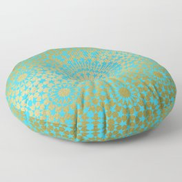Moroccan Nights - Gold Teal Mandala Pattern 1 - Mix & Match with Simplicity of Life Floor Pillow