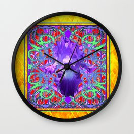 Orrnate Gold-Purple Spring Iris Pattern Design Wall Clock