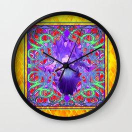 Orrnate Gold-Purple Spring Iris Pattern Design Wall Clock