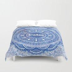 Calming Serenity Blue Mandala Duvet Cover