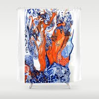 third eye Shower Curtains featuring Third Eye by Kiki & Gazelle