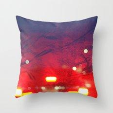 steamy car light bokeh Throw Pillow