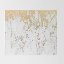 White Gold Marble Throw Blanket