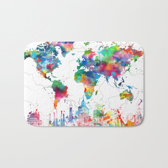 world map watercolor collage Bath Mat