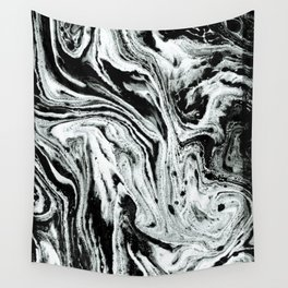 marble black and white minimal suminagashi japanese spilled ink abstract art Wall Tapestry