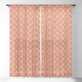 Art Deco Fan Pattern, Mandarin Orange Sheer Curtain