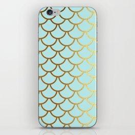 Aqua Teal And Gold Foil MermaidScales - Mermaid Scales iPhone Skin