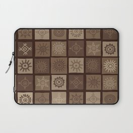 Brown african background with sun symbols Laptop Sleeve