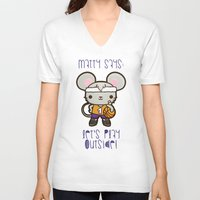 matty healy V-neck T-shirts featuring Matty the Sporty Mouse by Squid&Pig