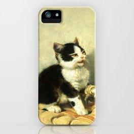 cute kitten 1- Julius Adam - the little patient -1885- pet,whikers,cat,kitty,kitten iPhone Case