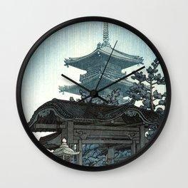 Rain at Zenshuji Temple by Kawase Hasui - Japanese Vintage Woodblock Ukiyo-e Painting Wall Clock