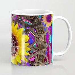 CONTEMPORARY  YELLOW SUNFLOWER CLOCK PURPLE ARTWORKS Coffee Mug