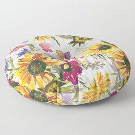 Hand Drawn Summer Watercolor Flowers Meadow Pattern Floor Pillow