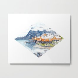 Scandinavian Lofoten Village Watercolor Metal Print