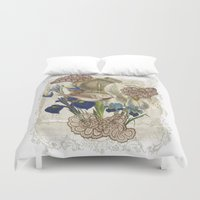cage Duvet Covers featuring BIRD CAGE by TOO MANY GRAPHIX
