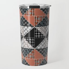 Multicolored black and brown patchwork . Travel Mug