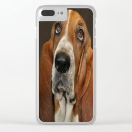 Lost In Thought Basset Hound Dog Clear iPhone Case