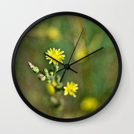 Golden flowers by the lake 1 Wall Clock