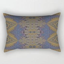 GoldBlue Mandalic Pattern 1 Rectangular Pillow