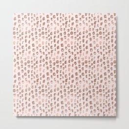 Pink Blush Rose Gold Abstract Stripes Metal Print