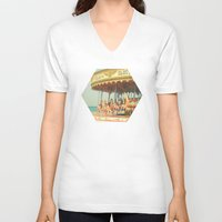 carousel V-neck T-shirts featuring Seaside Carousel by Cassia Beck