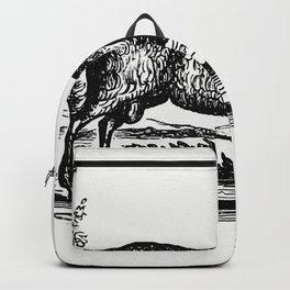 Vintage Victorian style goat engraving Backpack