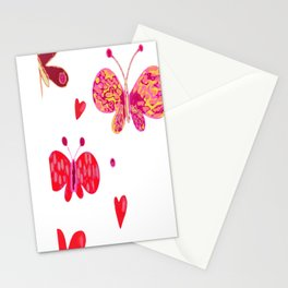 Butterflies and Hearts Stationery Cards