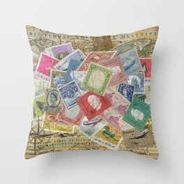 World Stamps Throw Pillow