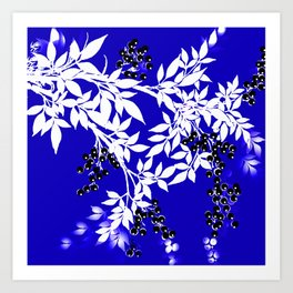LEAF AND TREE BRANCHES BLUE AD WHITE BLACK BERRIES Art Print