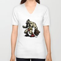 street fighter V-neck T-shirts featuring Bear Wrestler - Street Fighter by Peter Forsman