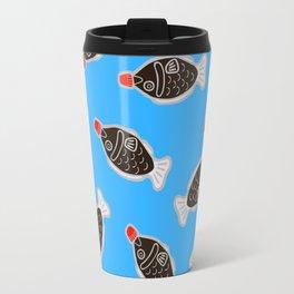 Sushi Soy Fish Pattern in Blue Travel Mug