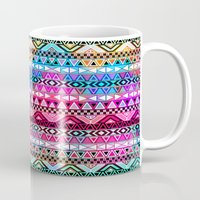 stickers Mugs featuring  Neon Aztec | Purple Pink Neon Bright Andes Abstract Pattern by Girly Trend