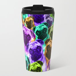 Colorful  Pug Pattern Travel Mug