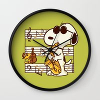 snoopy Wall Clocks featuring Happiness is Music by Enkel Dika