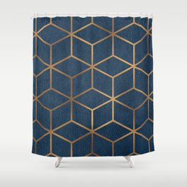 Dark Blue and Gold - Geometric Textured Cube Design Shower Curtain
