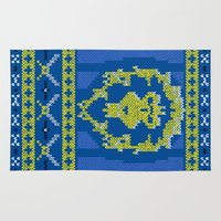 warcraft Area & Throw Rugs featuring Ugly Sweater 1 by SlothgirlArt