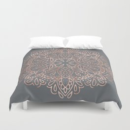 Mandala Rose Gold Pink Shimmer on Soft Gray by Nature Magick Duvet Cover
