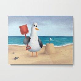 Seagull's Sandcastle Metal Print
