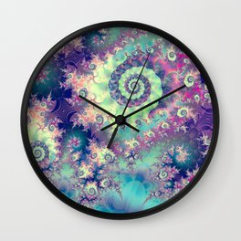 Violet Teal Sea Shells, Abstract Underwater Forest  Wall Clock