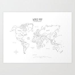 World Map minimal sketchy black and white Art Print