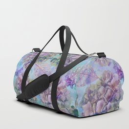 Watercolor hydrangeas and leaves Duffle Bag
