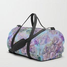 Watercolor hydrangeas and leaves Duffle Bag