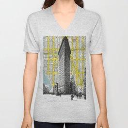 Flatiron Building - NYC Map Background Landmark urban city decor Unisex V-Neck