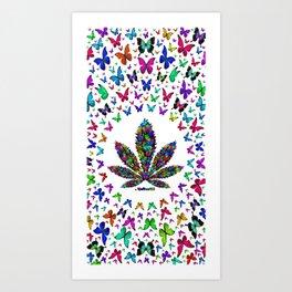 Butterflies Cannabis Leaf 3 Art Print