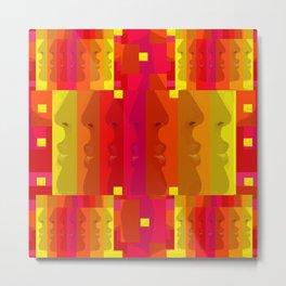 Sunset Silhouettes on Red,Orange,Yellow,Green,Purple Metal Print