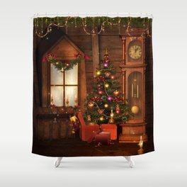 Old Christmas Room Shower Curtain
